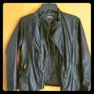 Faux Leather zipper jacket black size small